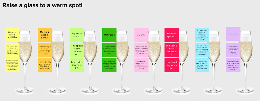 Virtual board with sticky notes and glasses of champagne