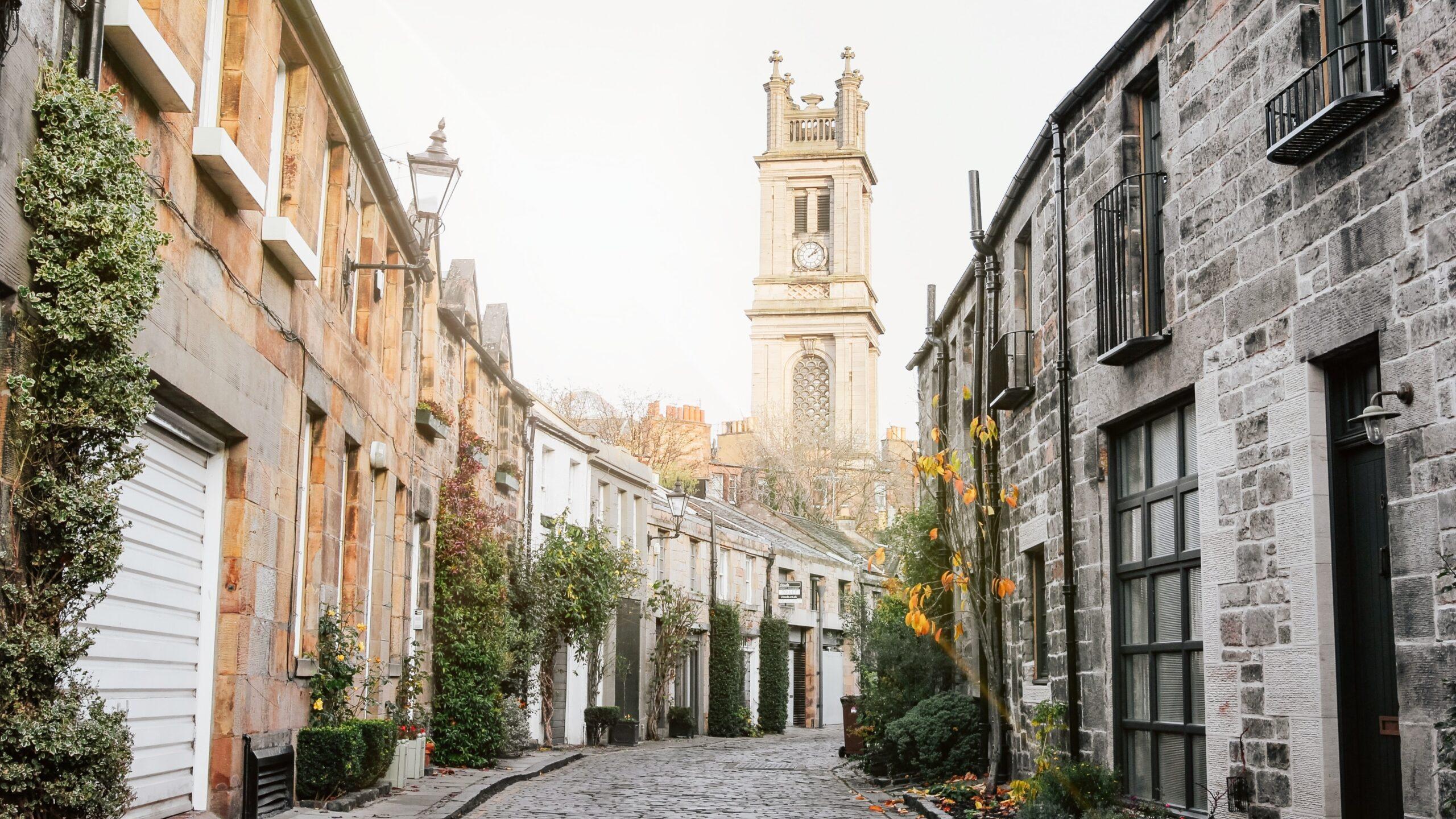Cute street in British town